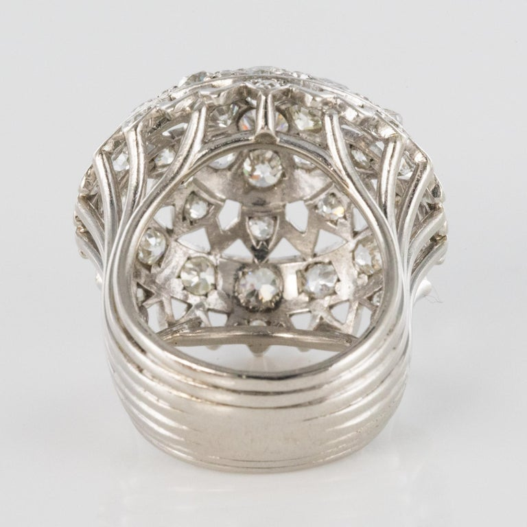 French 1960s 4.20 Carat Diamonds 18 Karat White Gold Cocktail Ring For Sale 9