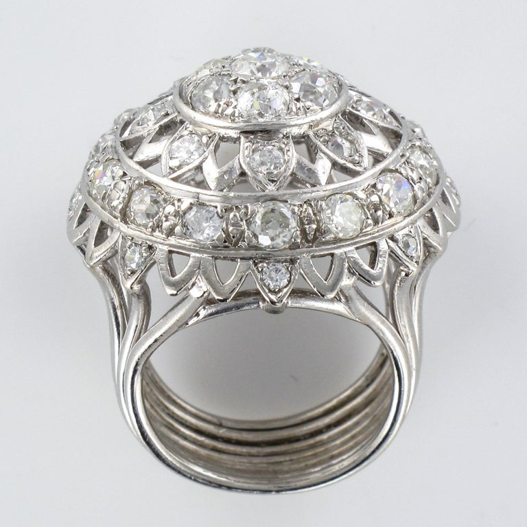 French 1960s 4.20 Carat Diamonds 18 Karat White Gold Cocktail Ring For Sale 13