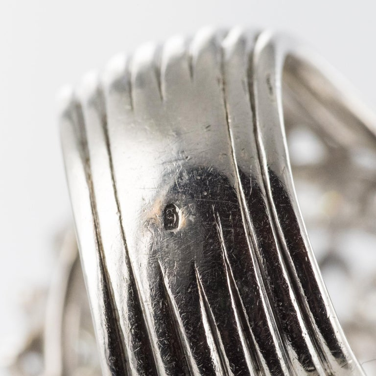 French 1960s 4.20 Carat Diamonds 18 Karat White Gold Cocktail Ring For Sale 14