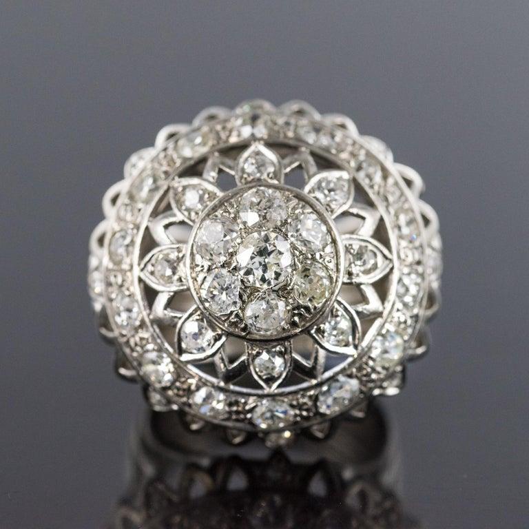 Retro French 1960s 4.20 Carat Diamonds 18 Karat White Gold Cocktail Ring For Sale