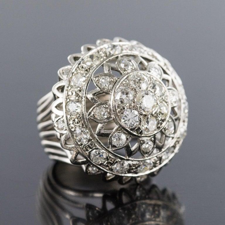 Women's French 1960s 4.20 Carat Diamonds 18 Karat White Gold Cocktail Ring For Sale