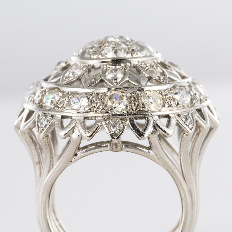 French 1960s 4.20 Carat Diamonds 18 Karat White Gold Cocktail Ring For Sale 1