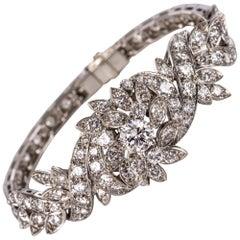 French 1960s 4.40 Carat Diamonds 18 Karat White Gold Bracelet