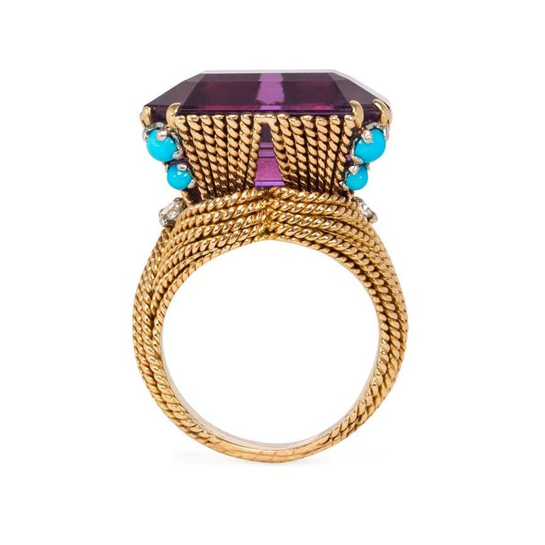 French 1960s Amethyst and Gold Cocktail Ring with Turquoise and Diamond Accents In Good Condition For Sale In New York, NY