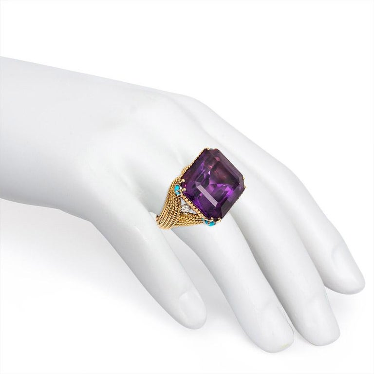Women's or Men's French 1960s Amethyst and Gold Cocktail Ring with Turquoise and Diamond Accents For Sale