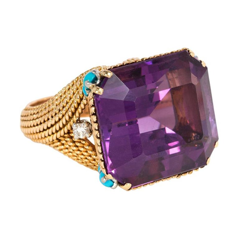 French 1960s Amethyst and Gold Cocktail Ring with Turquoise and Diamond Accents For Sale