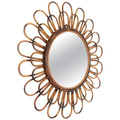 French Rattan Sunburst Flower Shaped Wall Mirror, 1960s