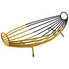 French 1960s Black Yellow Metal Bowl Basket Centerpiece
