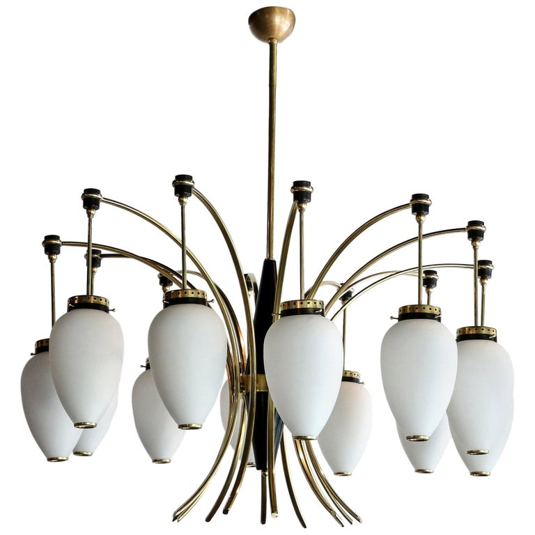 French 1960s Brass and White Glass Chandelier For Sale