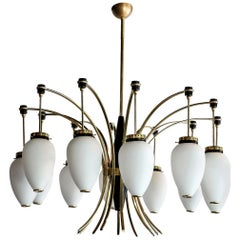 French 1960s Brass and White Glass Chandelier