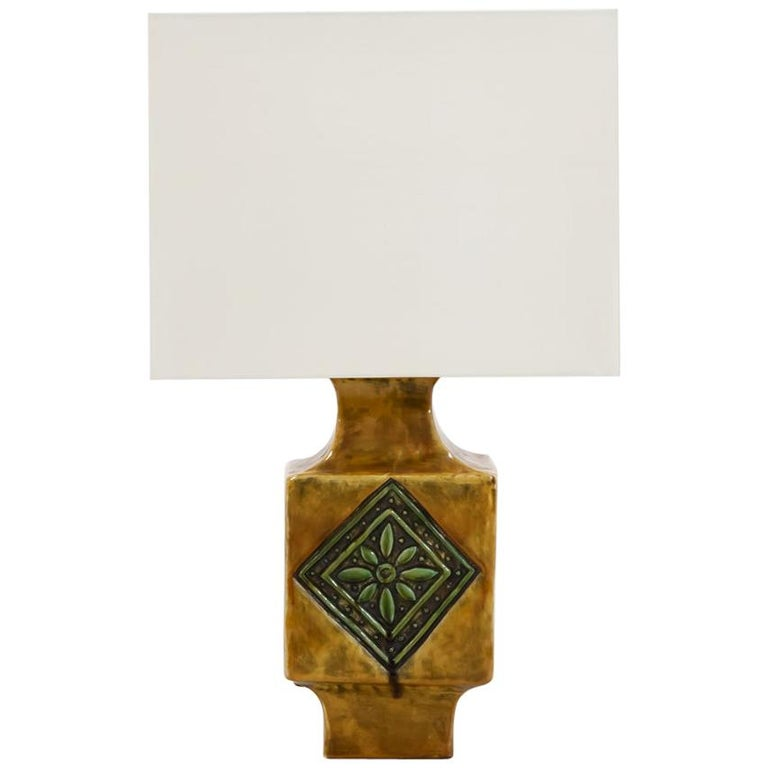 French 1960s Ceramic Glazed Table Lamp For Sale