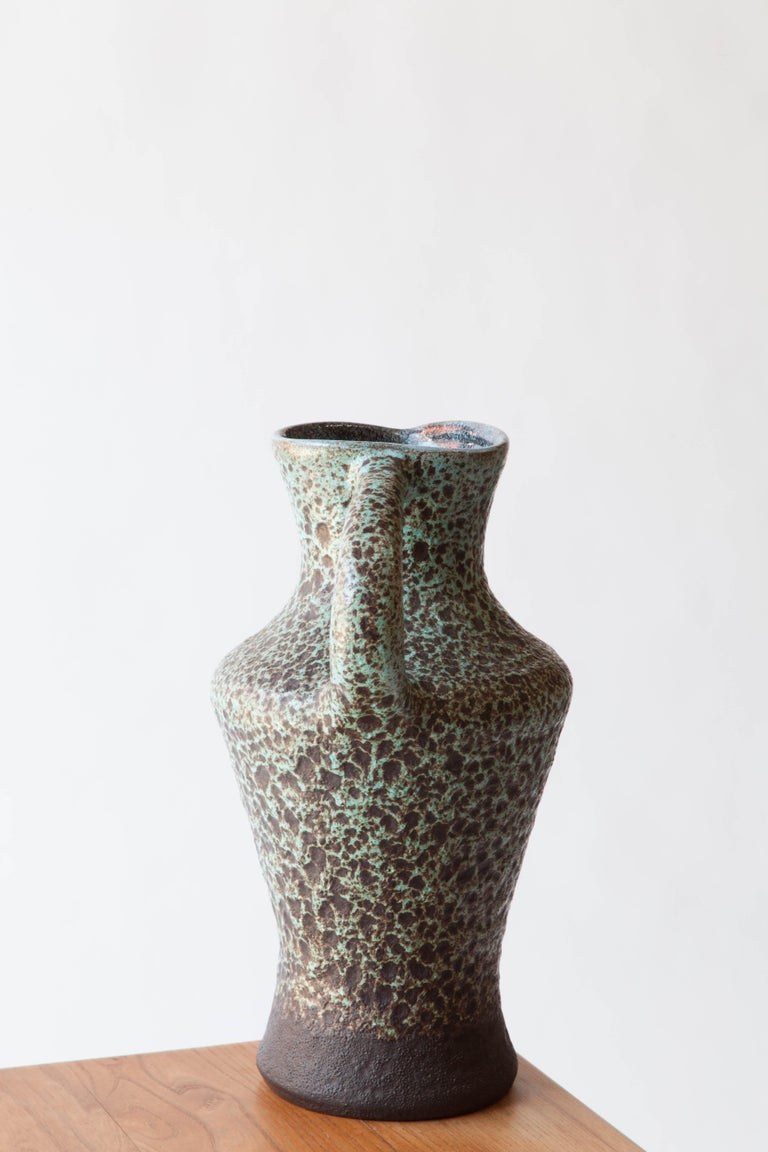 French 1960s Ceramic Turquoise Speckled Pitcher In Excellent Condition In New York, NY