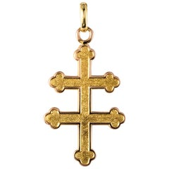French 1960s Chiseled 18 Karat Yellow Gold Cross Lorraine Pendant