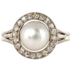 French 1960s Cultured Pearl Diamonds 18 Karat White Gold Ring