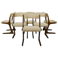 French 1960s Design Curved Wooden And Fabric Set of Six Chairs