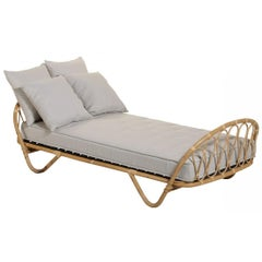 French 1960s Design Rattan Bed