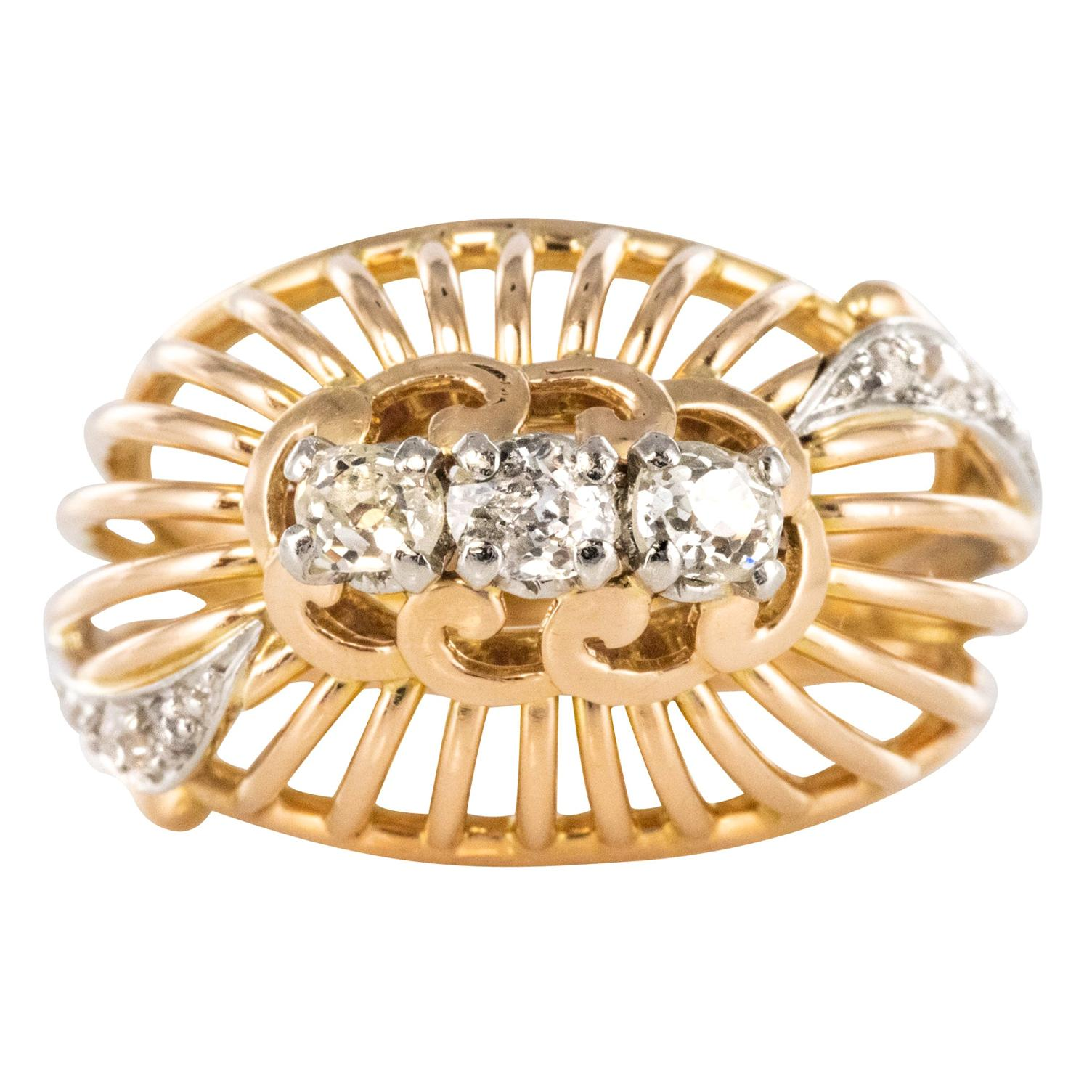 French 1960s Diamond 18 Karat Yellow Gold Thread Dome Ring
