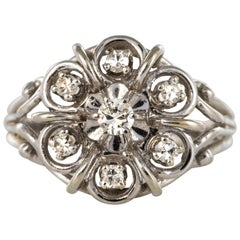 French 1960s Diamonds 18 Karat White Gold Thread Ring