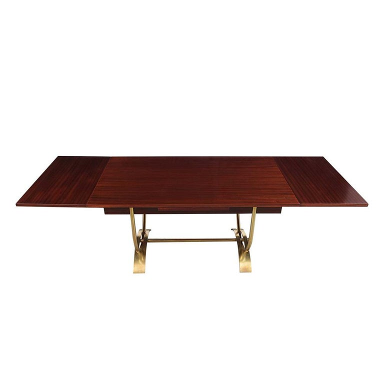 French 1960s Dining Room Table With Stylish Brass Base For
