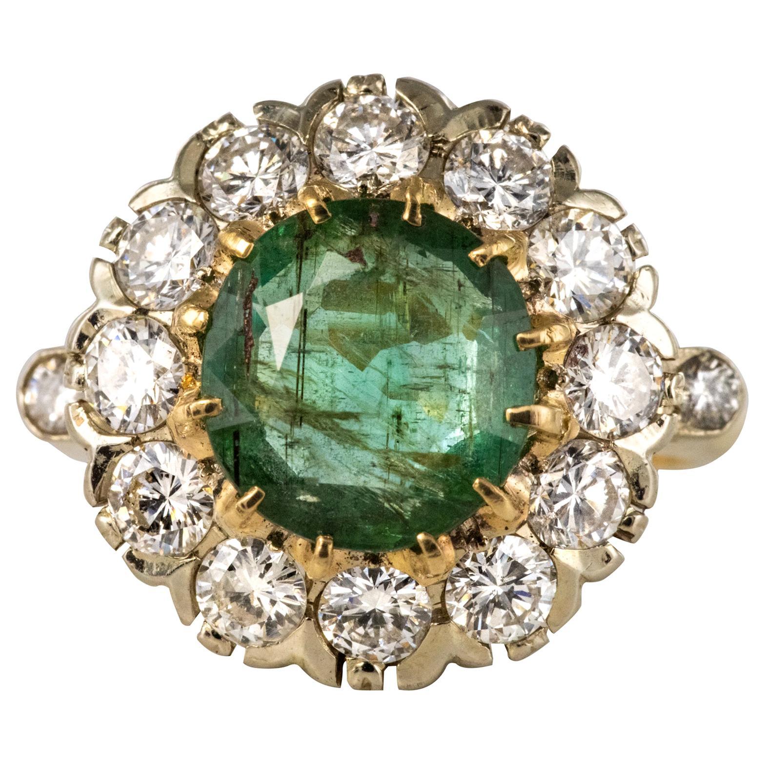 French 1960s Emerald Diamonds 18 Karat Yellow White Gold Daisy Ring