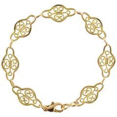 French 1960s Filigree Links 18 Karat Yellow Gold Chain Bracelet