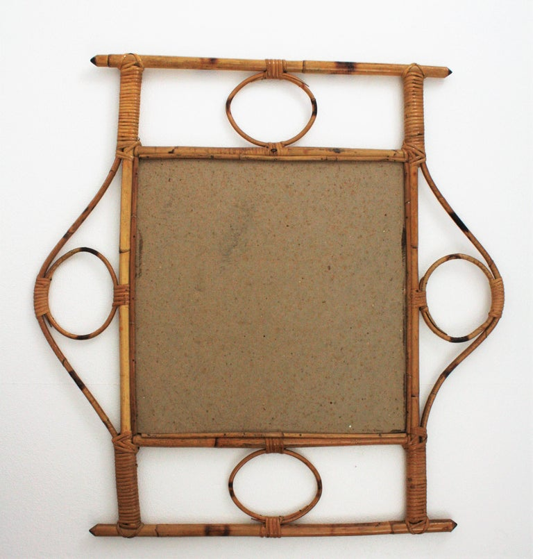 French 1960s Franco Albini style Bamboo and Rattan Rectangular Wall Mirror For Sale 8