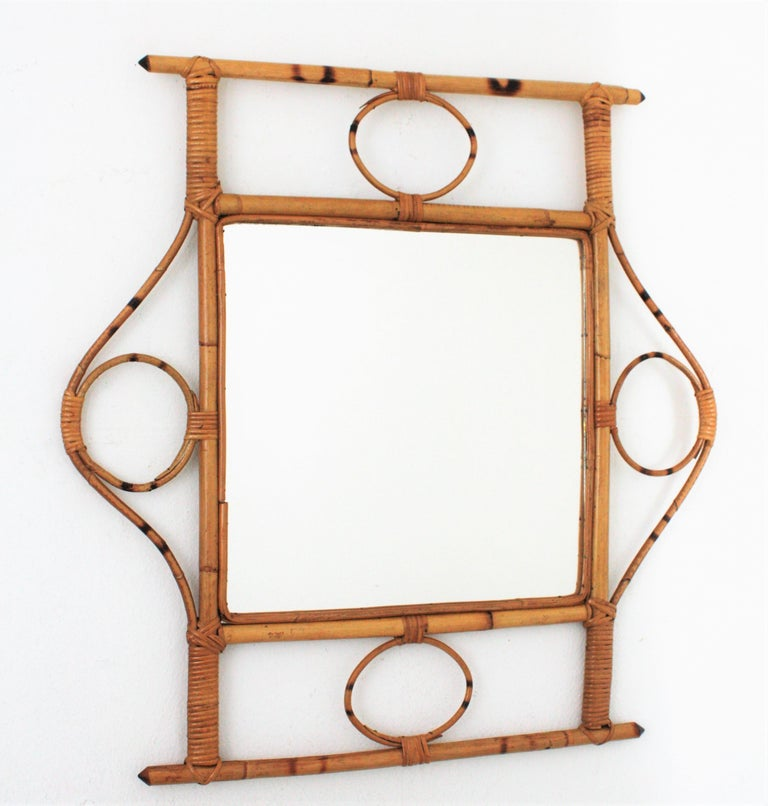 French 1960s Franco Albini style Bamboo and Rattan Rectangular Wall Mirror In Excellent Condition For Sale In Barcelona, ES