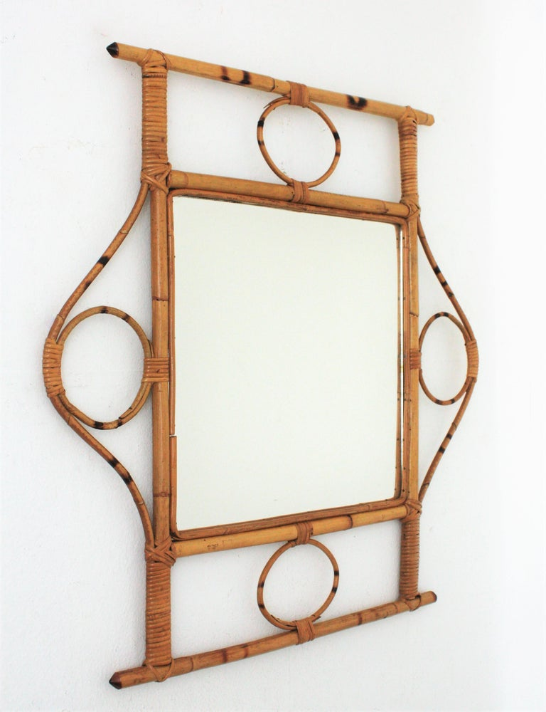 French 1960s Franco Albini style Bamboo and Rattan Rectangular Wall Mirror For Sale 1