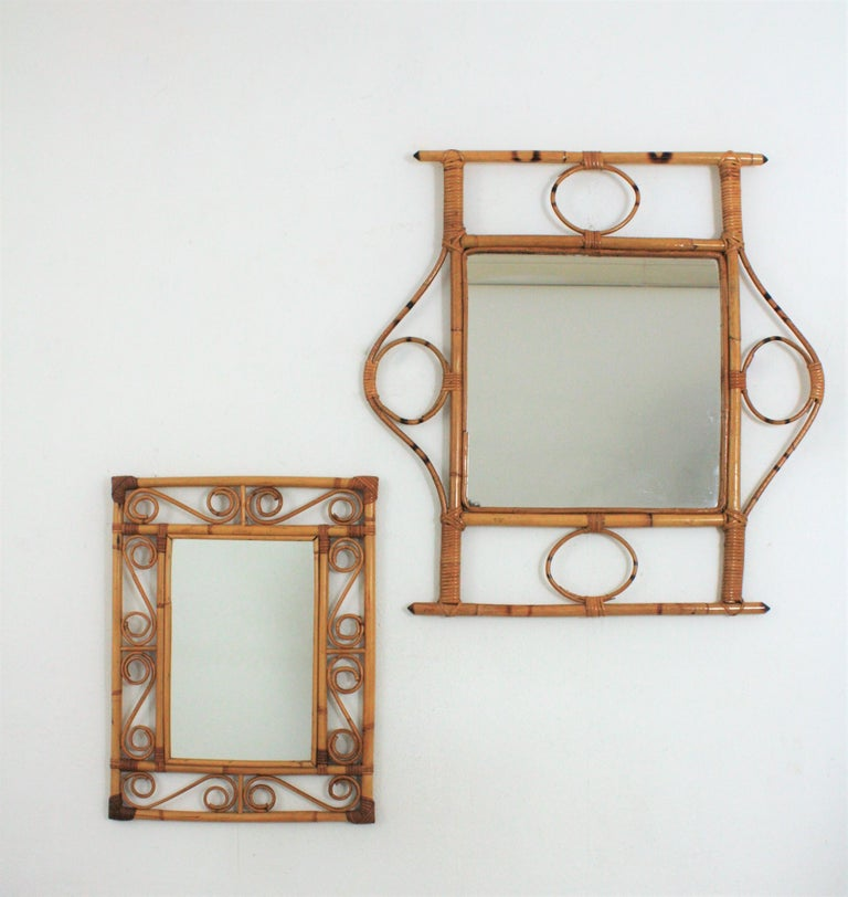 French 1960s Franco Albini style Bamboo and Rattan Rectangular Wall Mirror For Sale 2