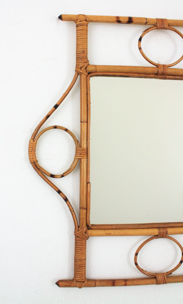French 1960s Franco Albini style Bamboo and Rattan Rectangular Wall Mirror For Sale 3
