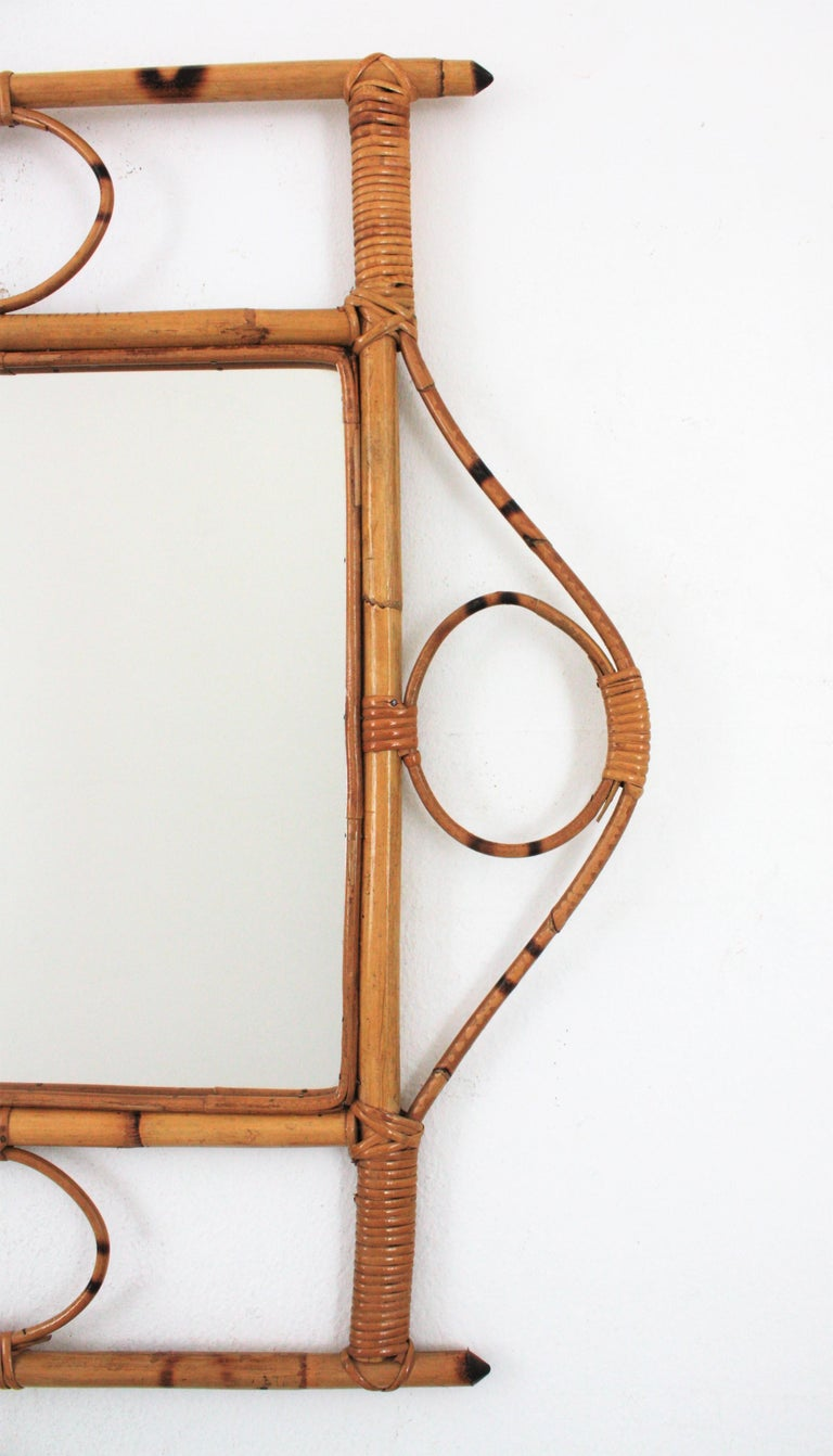 French 1960s Franco Albini style Bamboo and Rattan Rectangular Wall Mirror For Sale 4