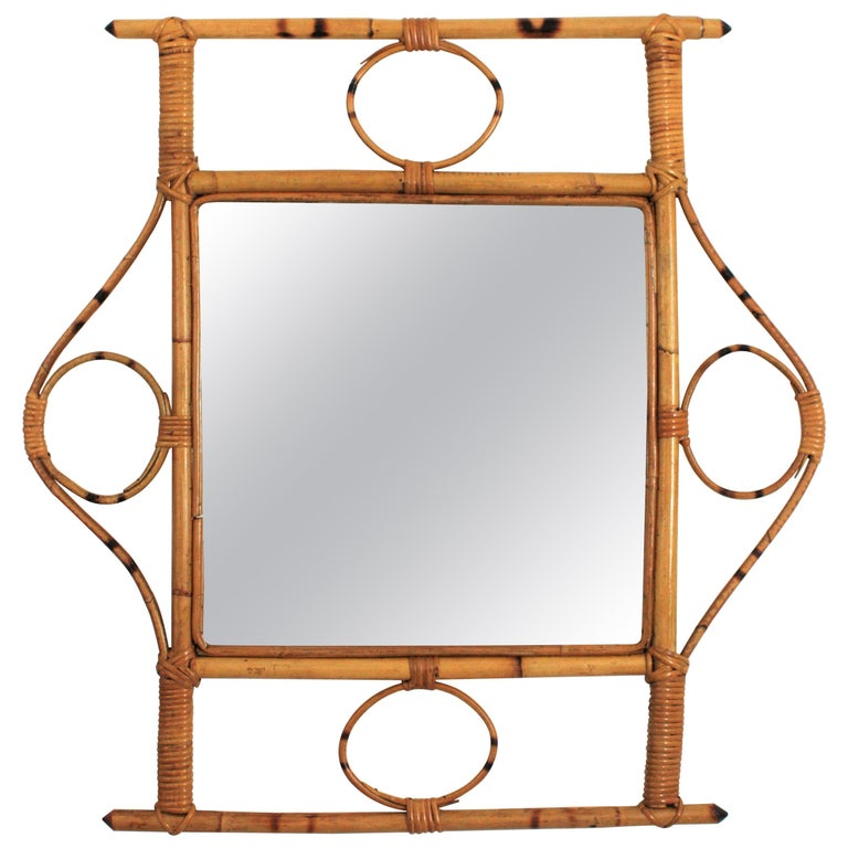 French 1960s Franco Albini style Bamboo and Rattan Rectangular Wall Mirror For Sale