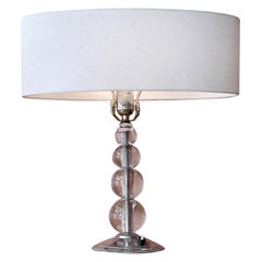 French 1960s Glass Table Lamp with Drum Shaped Linen Shade
