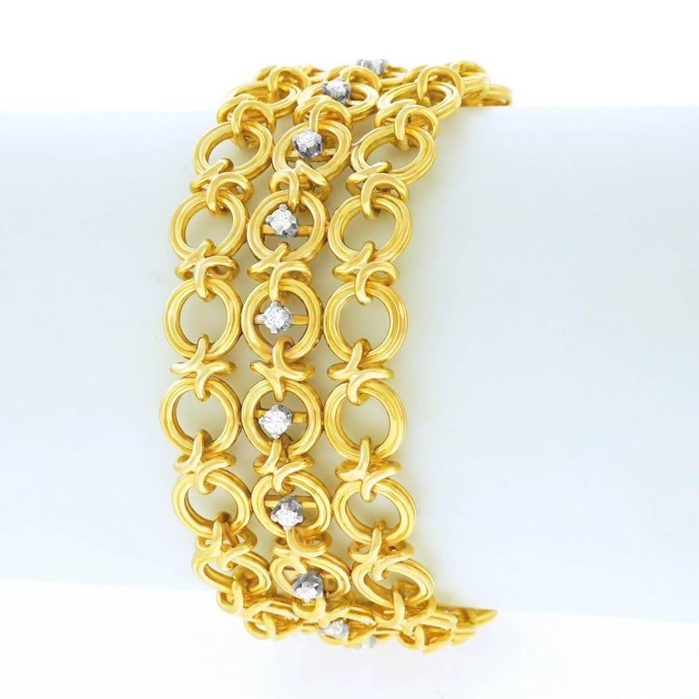 French 1960s Gold Bracelet For Sale 4