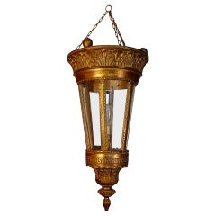 French 1960s Gold Painted Wood and Glass Suspension Light with One Centre Light