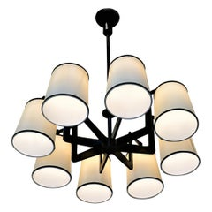 French 1960s Hand Forged Iron Chandelier
