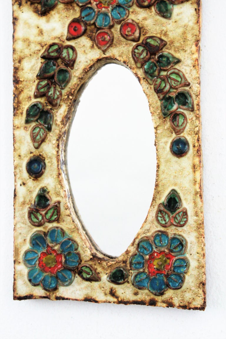20th Century French 1960s La Roue Vallauris Ceramic Hanging Mirror with Floral Details For Sale