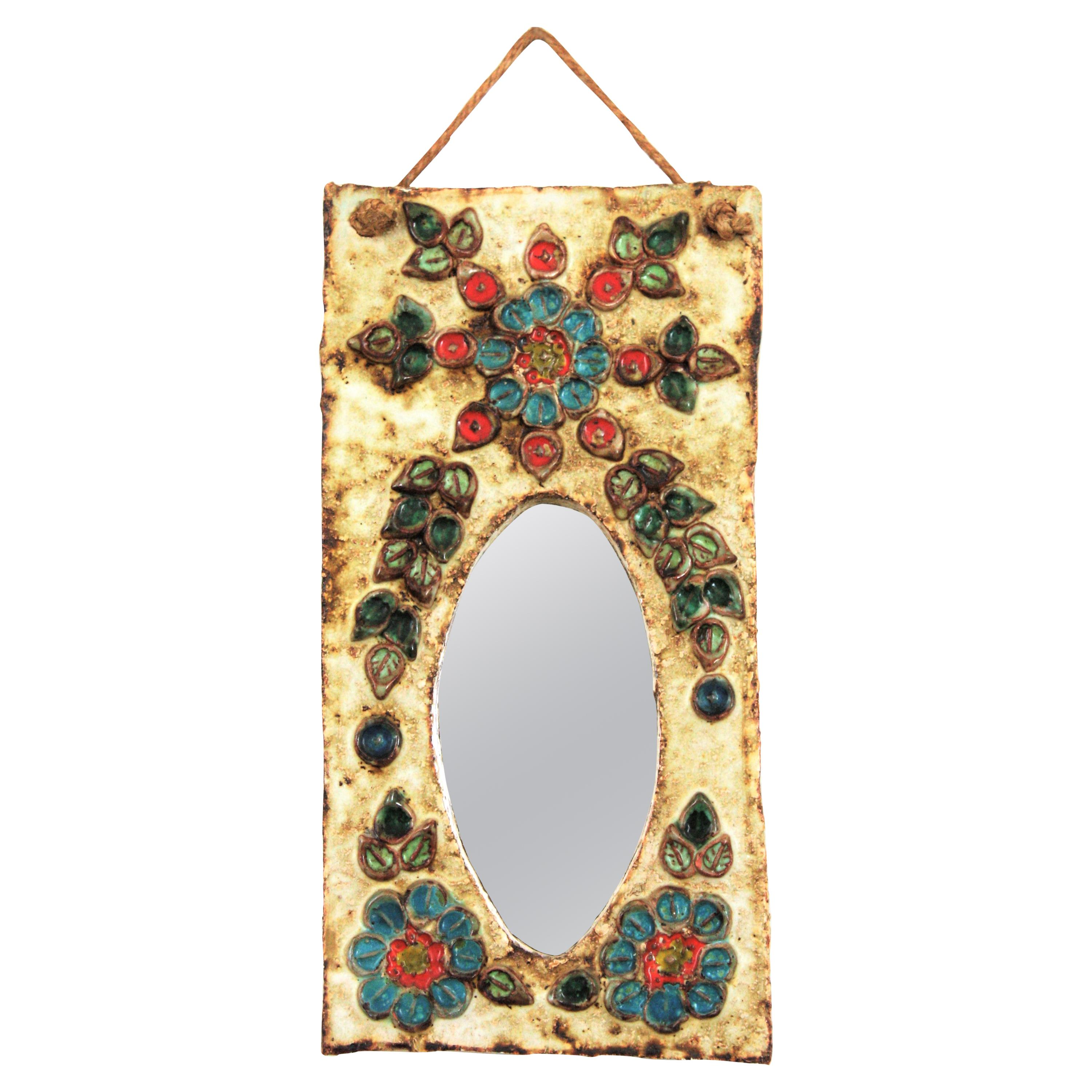 French 1960s La Roue Vallauris Ceramic Hanging Mirror with Floral Details