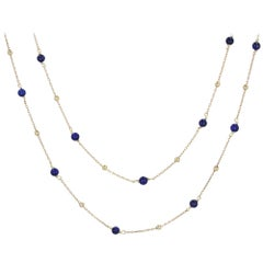 French 1960s Lapis Lazuli Pearls 18 Karat Yellow Gold Long Necklace