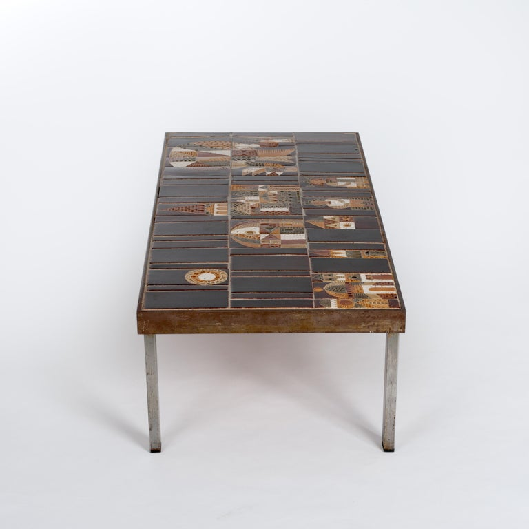 Mid-Century Modern  French 1960s Metal Base and Ceramic Top Coffee Table by Roger Capron For Sale