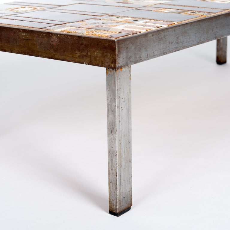 Hand-Crafted  French 1960s Metal Base and Ceramic Top Coffee Table by Roger Capron For Sale