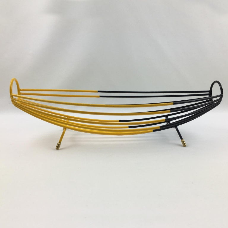 Mid-Century Modern French 1960s Modernist Black and Yellow Metal and Brass Bowl Basket Centerpiece For Sale