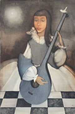 Large 1960s French Modernist Oil Painting Young Girl with Lute Guitar & Dove