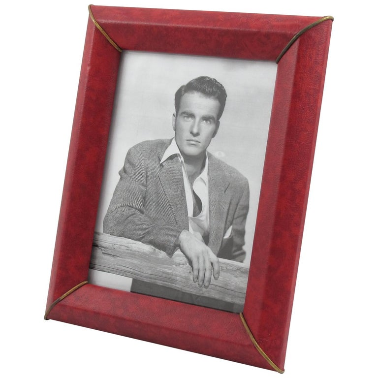 French 1960s Red Vinyl Leather Picture Frame
