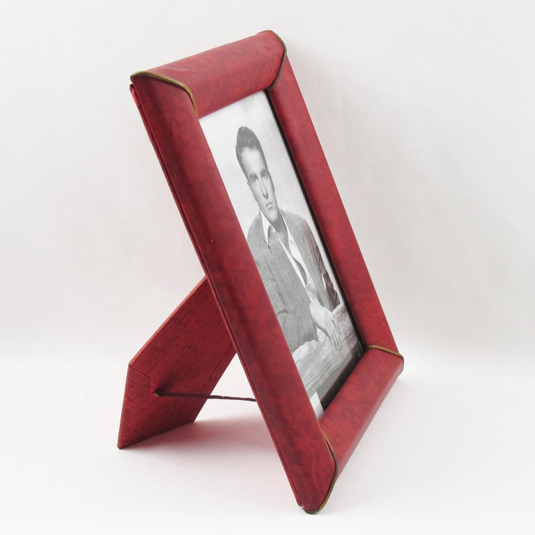 Mid-Century Modern French 1960s Red Vinyl Leather Picture Photo Frame with Brass Accents For Sale