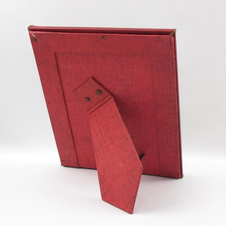 French 1960s Red Vinyl Leather Picture Frame In Good Condition For Sale In Atlanta, GA