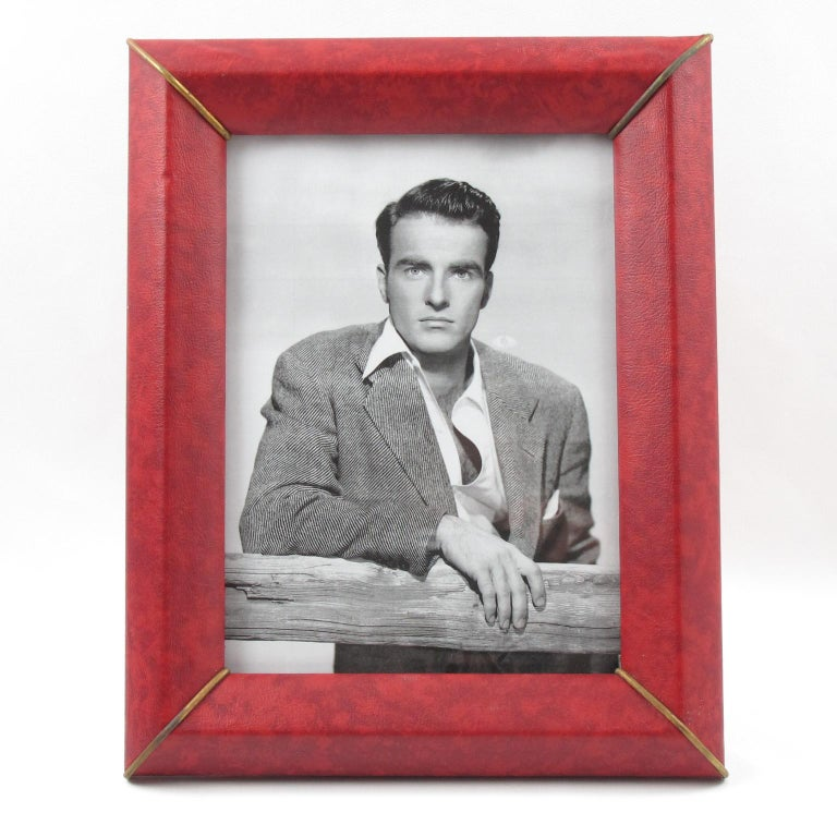 Mid-20th Century French 1960s Red Vinyl Leather Picture Photo Frame with Brass Accents For Sale