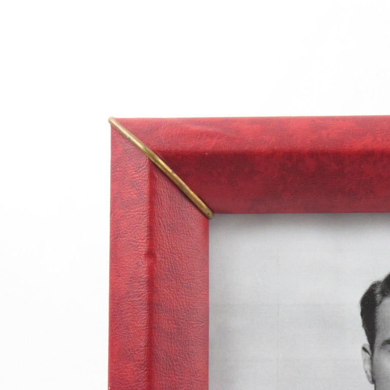 French 1960s Red Vinyl Leather Picture Photo Frame with Brass Accents For Sale 1