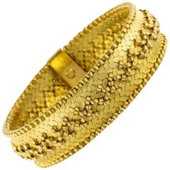 French 1960s Retro 18 Karat Yellow Gold Bracelet