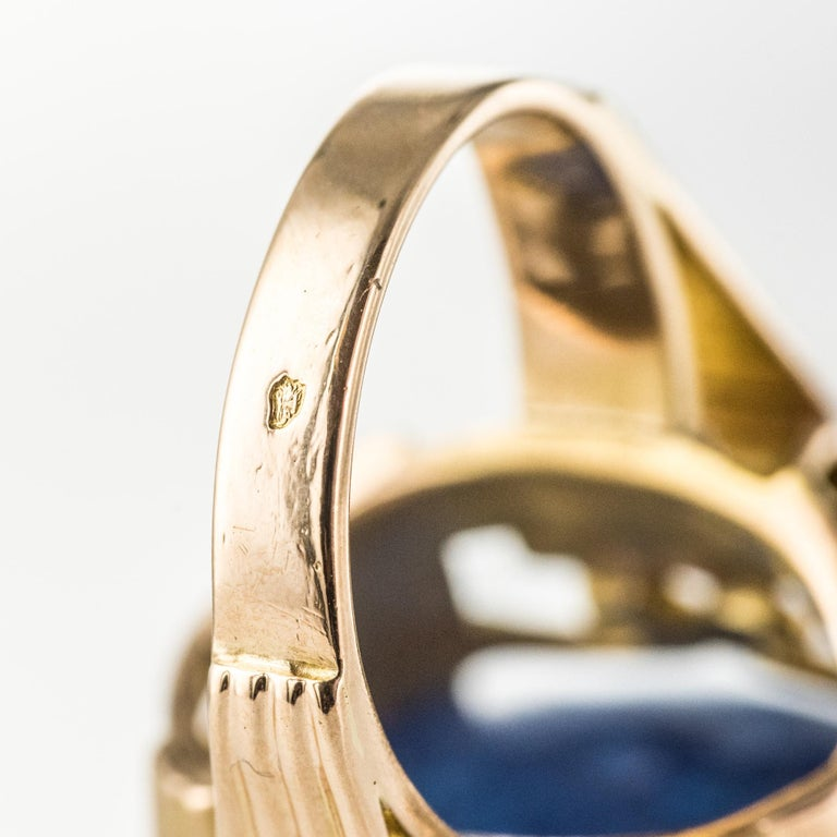 French 1960s Retro 49.20 Carat Tanzanite 18 Karat Yellow Gold Ring For Sale 12